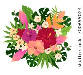 vivid tropical bouquet with... | Shutterstock .eps vector #700699024