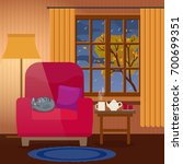evening cozy interior of living ... | Shutterstock .eps vector #700699351