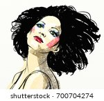 beautiful girl with black hair   Shutterstock . vector #700704274
