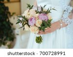 colorful peony and roses... | Shutterstock . vector #700728991