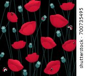 floral seamless pattern with... | Shutterstock .eps vector #700735495