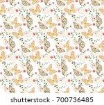 butterfly patterns seamless... | Shutterstock .eps vector #700736485