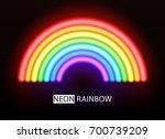 neon rainbow. glowing...   Shutterstock . vector #700739209