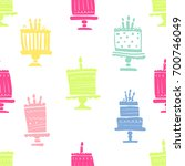 birthday cake seamless vector... | Shutterstock .eps vector #700746049