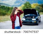white girl model standing near... | Shutterstock . vector #700747537