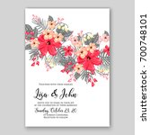 wedding invitation or card with ...   Shutterstock .eps vector #700748101