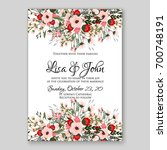 wedding invitation or card with ... | Shutterstock .eps vector #700748191