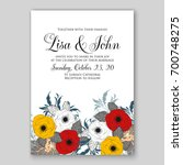 wedding invitation or card with ...   Shutterstock .eps vector #700748275