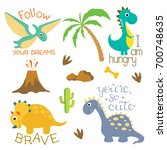 cute vector dinosaurs isolated... | Shutterstock .eps vector #700748635