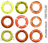 collage of  life buoy for... | Shutterstock . vector #70075120