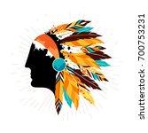 native american men in tribal... | Shutterstock . vector #700753231