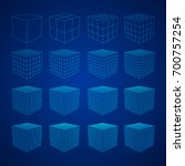 wireframe mesh cube in... | Shutterstock .eps vector #700757254
