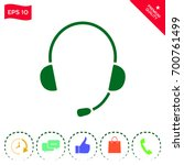 headphones with microphone icon | Shutterstock .eps vector #700761499