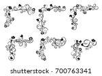 vintage floral swirl frame set. ... | Shutterstock .eps vector #700763341