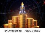 bitcoin logo rocket launcher ... | Shutterstock . vector #700764589