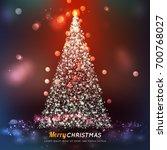 christmas tree made of network... | Shutterstock .eps vector #700768027