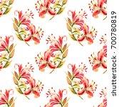 seamless pink lilies. painted...   Shutterstock . vector #700780819