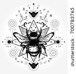 bee tattoo art. hand drawn... | Shutterstock .eps vector #700783765