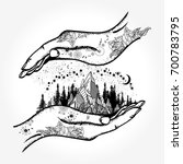 hands and mountains tattoo and... | Shutterstock .eps vector #700783795