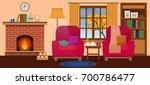 cozy interior of living room... | Shutterstock .eps vector #700786477