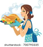 turkey is served  | Shutterstock .eps vector #700793335