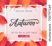 autumn sale background layout...   Shutterstock .eps vector #700797169