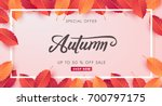autumn sale background layout... | Shutterstock .eps vector #700797175