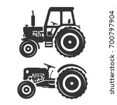 vector silhouettes of tractors | Shutterstock .eps vector #700797904