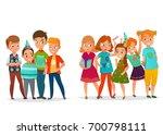kids birthday party retro... | Shutterstock .eps vector #700798111