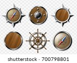 set of steel and wooden... | Shutterstock .eps vector #700798801