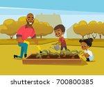 cheerful african american... | Shutterstock .eps vector #700800385