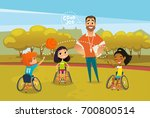 joyful disabled kids in... | Shutterstock .eps vector #700800514