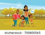 happy african american family... | Shutterstock .eps vector #700800565