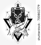 hands and mobile phone tattoo...   Shutterstock .eps vector #700802779