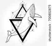 whale tattoo and t shirt design.... | Shutterstock .eps vector #700802875
