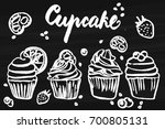 set of hand drawn cupcake on... | Shutterstock .eps vector #700805131