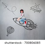 portrait of young child pretend ... | Shutterstock . vector #700806085