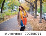 beautiful cheerful red haired... | Shutterstock . vector #700808791