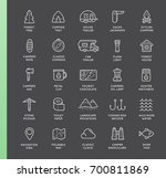 set of thin raster hunting... | Shutterstock . vector #700811869