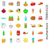 eating icons set. cartoon style ... | Shutterstock .eps vector #700814131