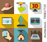 3d printer icons set. flat set... | Shutterstock .eps vector #700817725
