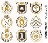 vintage heraldic coat of arms... | Shutterstock . vector #700817941