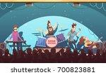open air festival rockband live ... | Shutterstock .eps vector #700823881