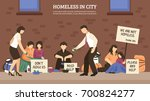 homeless people town...   Shutterstock .eps vector #700824277