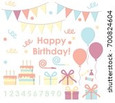 a set of cute isolated vector...   Shutterstock .eps vector #700824604