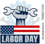 happy labor day  hand holding... | Shutterstock .eps vector #700827154