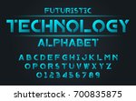 Futuristic technology blue set style technology and modern.Decorative alphabet vector fonts and numbers.Typography design for headlines, labels, posters, logos, cover, etc. | Shutterstock vector #700835875
