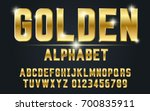 gold bold typeface set style... | Shutterstock .eps vector #700835911