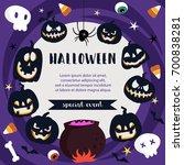 halloween greeting card... | Shutterstock .eps vector #700838281