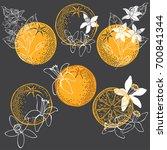 orange fruit and blossom.... | Shutterstock .eps vector #700841344